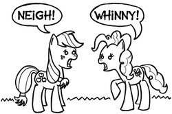Size: 707x470 | Tagged: safe, artist:samueleallen, applejack, pinkie pie, earth pony, pony, female, horse noises, horses doing horse things, lineart, mare, monochrome, neigh, open mouth, raised hoof, simple background, speech bubble, whinny, white background, wide eyes