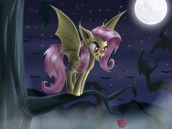 Size: 2000x1500   Tagged: safe, artist:sirzi, fluttershy, bat pony, pony, bats!, apple, female, flutterbat, moon, night, race swap, solo, stars, tree