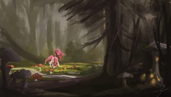 Size: 1321x749 | Tagged: artist needed, safe, pinkie pie, earth pony, pony, dark, female, forest, glow, mushroom, scenery, solo, tail wag