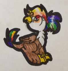 Size: 1491x1571 | Tagged: safe, artist:colorfulwonders, oc, oc only, oc:rainbow feather, griffon, hybrid, interspecies offspring, looking up, magical lesbian spawn, offspring, parent:gilda, parent:rainbow dash, parents:gildash, sitting, smiling, solo, traditional art