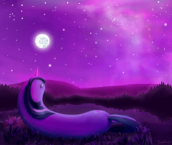 Size: 1522x1279 | Tagged: safe, artist:danfango, twilight sparkle, worm pony, cute, glowing horn, horn, lake, looking up, mare in the moon, moon, nebula, night, outdoors, sky, solo, sparkles, stars, twiworm