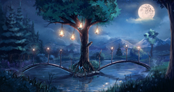 Size: 2000x1059   Tagged: safe, artist:sylar113, glow, mare in the moon, moon, night, no pony, scenery, tree, water