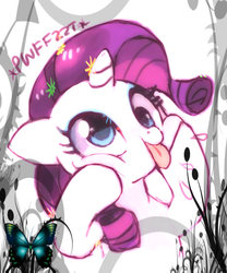 Size: 466x559 | Tagged: safe, artist:suikuzu, rarity, butterfly, pony, :p, cute, derp, drool, female, floppy ears, flower, flower in hair, funny face, grimace, onomatopoeia, raribetes, raspberry, raspberry noise, silly, silly pony, smiling, solo, squishy cheeks, tongue out