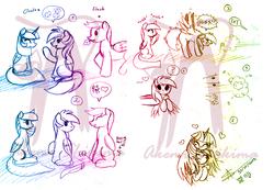 Size: 1303x901 | Tagged: safe, artist:shikimaakemi, flash sentry, rainbow dash, twilight sparkle, alicorn, pony, blushing, comic, female, heart, lesbian, mare, obtrusive watermark, pictogram, shipping, sketch, twidash, twilight sparkle (alicorn), watermark