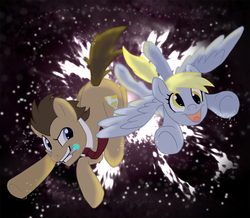 Size: 1000x870   Tagged: safe, artist:kayla-san, derpy hooves, doctor whooves, time turner, earth pony, pegasus, pony, doctor whooves and assistant, doctor who, female, flying, happy, mare, necktie, smiling, sonic screwdriver, space, the doctor