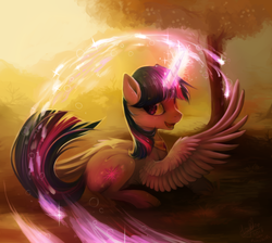 Size: 968x866 | Tagged: alicorn, artist:hioshiru, beautiful, color porn, female, glow, grass, looking back, magic, mare, open mouth, pony, prone, safe, smiling, solo, spread wings, tree, twilight sparkle, twilight sparkle (alicorn)
