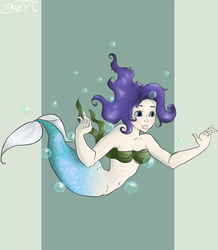 Size: 3490x4000 | Tagged: safe, artist:emiliearts, rarity, mermaid, belly button, female, mermaidized, midriff, seaweed, seaweed bra, solo