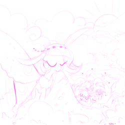 Size: 1000x1000 | Tagged: safe, artist:meekcheep, oc, oc only, mothpony, original species, blanket, floral head wreath, larva, lineart, moth pony general, mouth hold, offspring