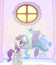 Size: 829x964 | Tagged: safe, artist:oblivinite, cloudchaser, rarity, blushing, clarity, clothes, dress, female, flying, glasses, interior, kissing, lesbian, magic, rarichaser, shipping, surprise kiss, surprised, working