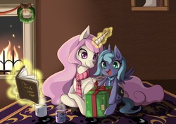 Size: 1400x986   Tagged: safe, artist:grasspainter, princess celestia, princess luna, book, box, christmas, clothes, cup, cute, drink, filly, fire, fireplace, happy, hearth's warming eve, hot chocolate, levitation, magic, mug, open mouth, pink-mane celestia, pointy ponies, present, prone, royal sisters, rug, scarf, sisters, smiling, telekinesis, woona, wreath, younger