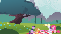 Size: 3200x1800 | Tagged: safe, artist:ceruleandraw, applejack, pinkie pie, rarity, twilight sparkle, blanket, cake, cup, hat, minimalist, picnic, saucer, wallpaper