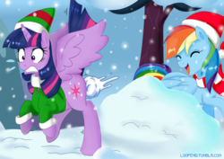 Size: 1000x707 | Tagged: safe, artist:pijinpyon, buddy the elf, rainbow dash, twilight sparkle, alicorn, pegasus, pony, butt, butt shot, clothes, coat, cold, cute, dashabetes, description in comments, duo, elf costume, featured image, female, hat, laughing, mare, playful, plot shot, santa hat, scarf, snow, snowball, snowball fight, snowfall, spread wings, sweet dreams fuel, twiabetes, twilight sparkle (alicorn), wingboner, wings, winter
