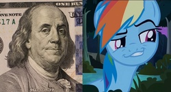 Size: 1496x808 | Tagged: benjamin franklin, daring don't, dollar, face, money, rainbow dash, safe, smug, smugdash