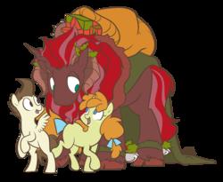 Size: 1280x1050 | Tagged: safe, artist:egophiliac, pound cake, pumpkin cake, oc, oc:king krampus, pegasus, pony, unicorn, slice of pony life, bow, colt, female, filly, hair bow, king krampus, krampus, male, older pound cake, older pumpkin cake, simple background, tail bow, the lord of aldheim, transparent background, tricorn, tumblr