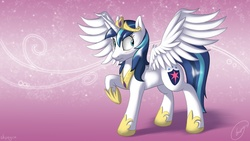 Size: 2500x1406   Tagged: dead source, safe, artist:skipsy, shining armor, alicorn, pony, alicornified, collar, crown, cute, cutie mark, female, gleamibetes, gleaming shield, horn, jewelry, male, male to female, mare, princess gleaming shield, race swap, regalia, rule 63, rule63betes, shining adorable, shiningcorn, solo, stallion, surprised, transformation, transgender transformation, wings