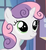 Size: 341x369 | Tagged: safe, screencap, sweetie belle, pony, unicorn, bust, female, filly, looking up, scrunchy face, solo