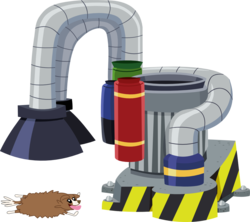 Size: 1291x1145 | Tagged: safe, artist:dbapplejack, winona, dog, flattened, industrial strength pet dryer, machine, simple background, tongue out, transparent background, vector