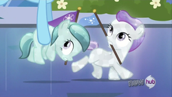 Size: 1920x1080 | Tagged: safe, screencap, glass slipper, hope (crystal pony), rainbow dash, crystal pony, pony, games ponies play, bush, crystal filly, filly, flag, flower, flying, foal, kidnapped