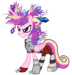 Size: 4800x5000 | Tagged: safe, artist:beavernator, princess cadance, games ponies play, absurd resolution, alternate hairstyle, amputee, angry, bad hair, borderlands, borderlands 2, clothes, crossover, female, gaige, mechromancer, messy mane, parody, porcupine hair, prosthetic limb, simple background, solo, transparent background, vector