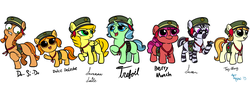 Size: 1700x580 | Tagged: safe, artist:aa, tag-a-long, oc, oc:berry munch, oc:do-si-do, oc:dulce deleche, oc:samoa, oc:savannah smile, oc:trefoil, butterfly, earth pony, pegasus, pony, unicorn, zebra, ask a filly scout, just for sidekicks, beret, charity, colored, cookie, ear piercing, earring, female, filly, filly guides, filly scouts, food, freckles, hat, jewelry, open mouth, piercing, pigtails, sash, simple background, sketch, smiling, thin mint, white background, zebra oc