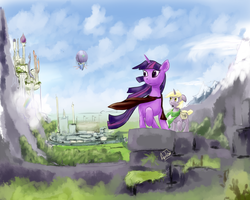 Size: 1000x800 | Tagged: airship, artist:archonix, canterlot, dinky hooves, mountain, safe, twilight sparkle