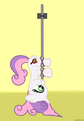 Size: 3200x4600 | Tagged: artist:eccentricpone, broom, cutie mark, living object, messy mane, rope, safe, simple background, sweepy belle, sweetie belle, upside down