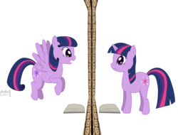 Size: 1575x1200 | Tagged: alternate universe, artist:phallen1, mirror, oc, oc:evening star, pegasus, pegasus twilight sparkle, pony, race swap, safe, twilight sparkle, unicorn, unicorn twilight