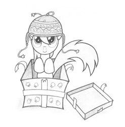 Size: 2000x2026 | Tagged: safe, artist:agamnentzar, derpy hooves, pegasus, pony, box, cap, female, hat, mare, underp