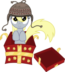 Size: 9406x10384 | Tagged: safe, artist:agamnentzar, artist:tryhardbrony, derpy hooves, pegasus, pony, .ai available, absurd resolution, box, cap, christmas, female, hat, mare, present, simple background, solo, transparent background, underp, vector