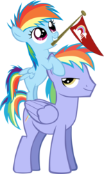 Size: 3534x5882 | Tagged: safe, artist:jerick, rainbow blaze, rainbow dash, games ponies play, absurd resolution, father and daughter, filly, flag, simple background, transparent background, vector