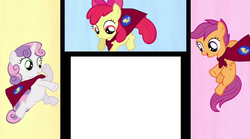 Size: 1018x568 | Tagged: apple bloom, cutie mark crusaders, meme, safe, scootaloo, sweetie belle, template