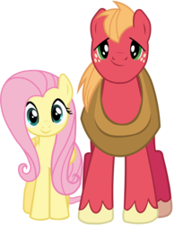 Size: 3328x4287   Tagged: safe, artist:bobthelurker, big macintosh, fluttershy, earth pony, pony, fluttermac, looking at you, male, shipping, smiling, stallion, straight