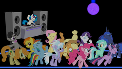Size: 2560x1440 | Tagged: alicorn, applejack, artist:game-beatx14, bowtie, carrot top, cloudchaser, cutie mark, dancing, dj pon-3, earth pony, eyes closed, female, floor, fluttershy, golden harvest, hat, hooves, horn, light, lyra heartstrings, mane six, mare, octavia melody, one eye closed, open mouth, pegasus, pinkie pie, pony, princess luna, rainbow dash, rarity, safe, smiling, spitfire, sunglasses, teeth, turntable, twilight sparkle, unicorn, vector, vinyl scratch, wallpaper, wings
