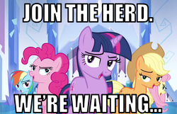 Size: 839x539 | Tagged: safe, edit, edited screencap, screencap, applejack, fluttershy, pinkie pie, rainbow dash, twilight sparkle, games ponies play, bedroom eyes, bronybait, caption, crystal empire cheer meme, image macro, join the herd, looking at you, open mouth, smiling