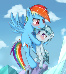 Size: 1082x1200 | Tagged: safe, artist:hua, glass slipper, rainbow dash, crystal pony, pony, games ponies play, blushing, carrying, cloud, cloudy, crystal empire, crystal filly, embarrassed, filly, flying, open mouth, pouting, scene interpretation