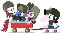 Size: 4480x2560   Tagged: safe, artist:beavernator, princess cadance, princess celestia, princess luna, oc, oc:fausticorn, battlefield, battlefield 3, crossover, filly, frown, grin, gritted teeth, helmet, lauren faust, looking back, military, open mouth, scooter, smiling, soldier, wagon, wat