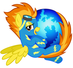 Size: 10000x9293 | Tagged: dead source, safe, artist:dentist73548, artist:tygerbug, spitfire, absurd resolution, bedroom eyes, crossover, firefox, goggles, internet browser, parody, solo, wonderbolts uniform