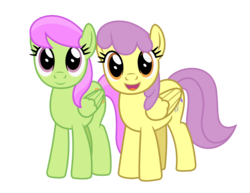 Size: 1400x1080 | Tagged: safe, artist:bluemeganium, merry may, parasol, pony, background pony, cute, duo, duo female, female, looking at you, simple background, smiling, transparent background, vector