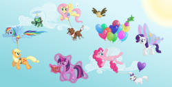 Size: 10000x5092 | Tagged: safe, artist:stabzor, angel bunny, applejack, fluttershy, gummy, opalescence, owlowiscious, pinkie pie, rainbow dash, rarity, tank, twilight sparkle, winona, earth pony, pegasus, unicorn, absurd resolution, artificial wings, augmented, balloon, book, day, flying, glimmer wings, magic, magic wings, mane six, sky, sun, then watch her balloons lift her up to the sky, unicorn twilight, vector, wings