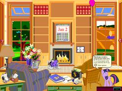 Size: 1024x768 | Tagged: artist needed, source needed, safe, edit, twilight sparkle, elephant, calendar, checkbook, fireplace, hay bale, microsoft bob, pen, pencil, ring binder, speech bubble, tree