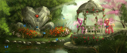 Size: 1939x823   Tagged: safe, artist:devinian, big macintosh, cheerilee, butterfly, earth pony, pony, cheerimac, flower, gazebo, hearts and hooves day, male, necktie, rose, scenery, scenery porn, shipping, stallion, straight
