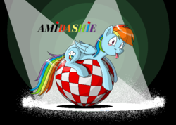 Size: 720x512 | Tagged: safe, artist:tobibrocki, rainbow dash, amiga, ball, pixel art, solo