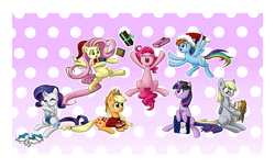 Size: 1715x1047 | Tagged: safe, artist:sleepykoinu, applejack, derpy hooves, fluttershy, pinkie pie, rainbow dash, rarity, twilight sparkle, oc, pegasus, pony, christmas, clothes, female, mane six, mare, sweater
