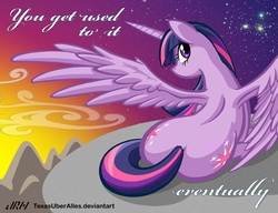 Size: 792x609 | Tagged: safe, artist:texasuberalles, twilight sparkle, alicorn, pony, alicorn drama, both cutie marks, dock, female, looking at you, looking back, mare, plot, prone, solo, spread wings, sunset, twilight sparkle (alicorn)