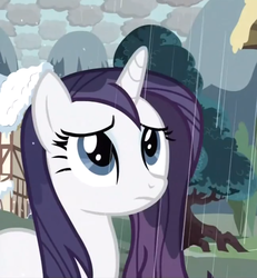 Size: 730x790 | Tagged: safe, rarity, pony, unicorn, magical mystery cure, checkered clouds, female, mare, rain, sad, solo, wet, wet mane, wet mane rarity