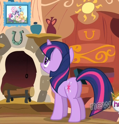 Size: 817x852 | Tagged: safe, screencap, applejack, fluttershy, pinkie pie, rainbow dash, rarity, twilight sparkle, pony, unicorn, magical mystery cure, butt, fireplace, photo, picture, plot, solo