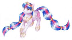 Size: 1435x800   Tagged: safe, artist:xfouxx, twilight sparkle, earth pony, pony, female, headband, solo, species swap, traditional art