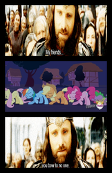 Size: 550x850 | Tagged: safe, applejack, fluttershy, pinkie pie, rainbow dash, spike, aragorn, bowing, lord of the rings, reference