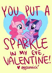 Size: 1589x2223   Tagged: dead source, safe, artist:eggsammich, pinkie pie, twilight sparkle, earth pony, unicorn, cute, female, happy, lesbian, shipping, twinkie, unicorn twilight, valentine