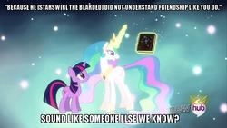 Size: 854x480 | Tagged: safe, edit, edited screencap, screencap, princess celestia, star swirl the bearded, twilight sparkle, alicorn, pony, unicorn, magical mystery cure, all new, ascension, book, caption, discord is star swirl, duo, ethereal mane, female, hub logo, image macro, magic, mare, princess celestia's special princess making dimension, quote, telekinesis, text, unicorn twilight, void